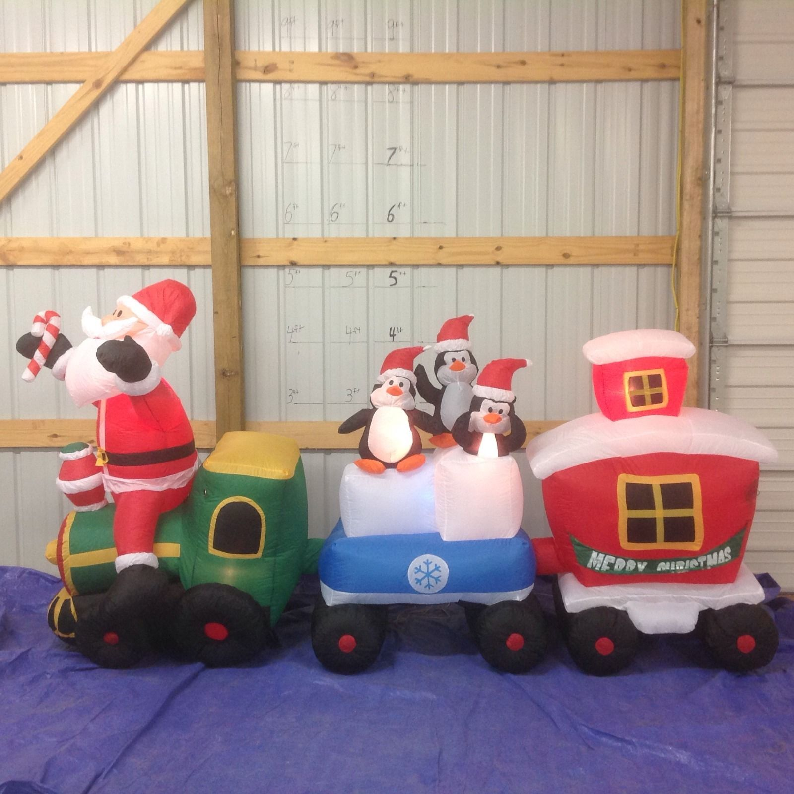 gemmy inflatable santa and friends on christmas trainjpg
