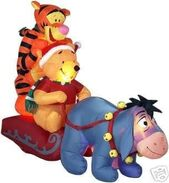 AIRBLOWN INFLATABLE POOH TIGGER AND EEYORE CHRISTMAS SLEIGH RIDE