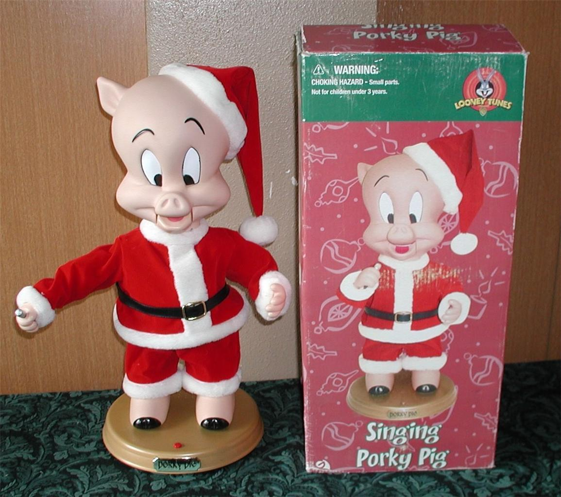 animated christmas porky pig figure - Porky Pig Sings Blue Christmas