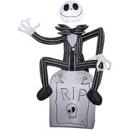 Airblown Inflatable Jack Skellington on tombstone