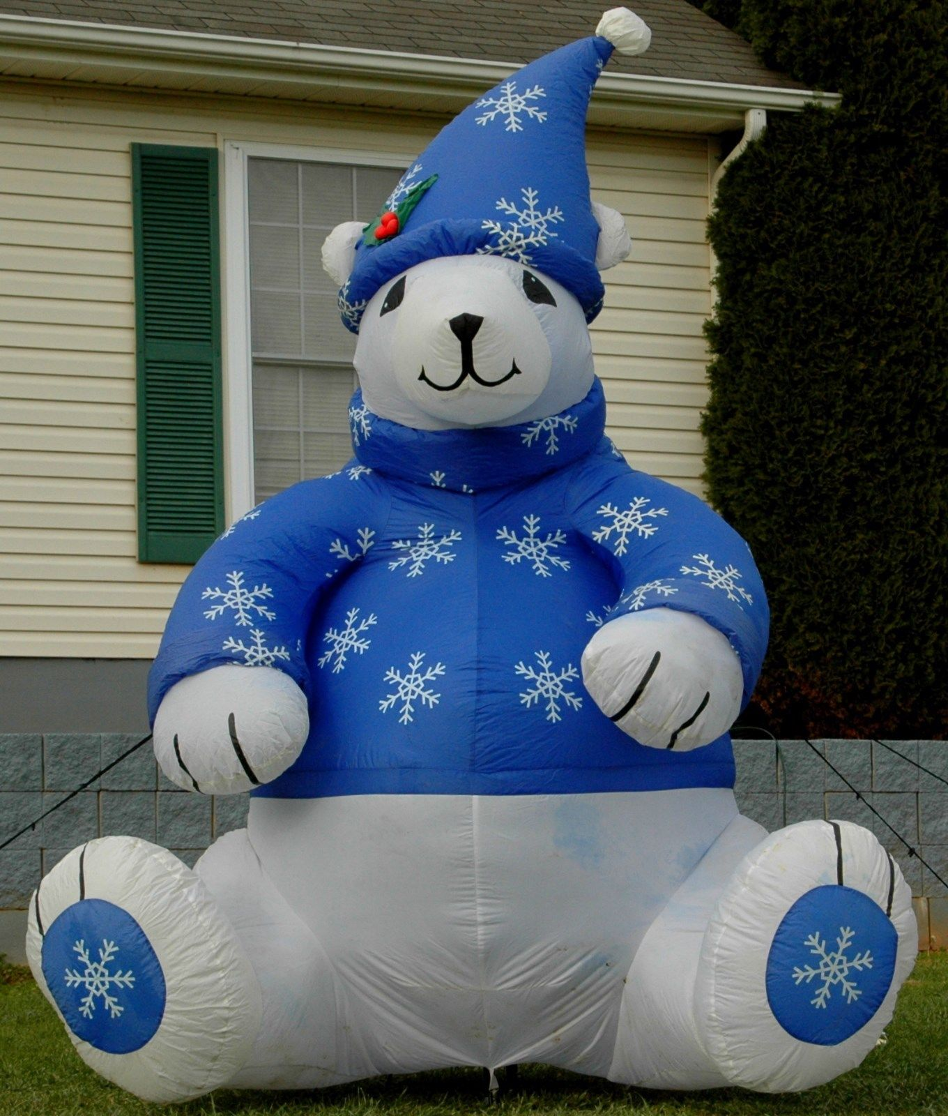 gemmy 8 ft polar bear w blue sweater hat christmas airblown inflatable displayjpg - Christmas Airblown Inflatables
