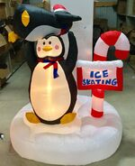 6ft Gemmy Airblown Inflatable Christmas Animated Penguin Skating Scene Prototype