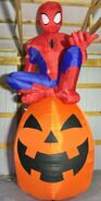 Gemmy Prototype Halloween Inflatable Spiderman On Pumpkin