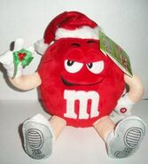Red M&M Plush Musical Christmas Animated Shaker