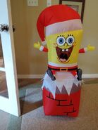 Gemmy inflatable Spongebob on chimney
