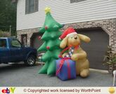 Gemmy inflatable dog with present and tree