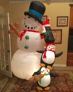 Gemmy Prototype Christmas Penguins Building Snowman Inflatable Airblown