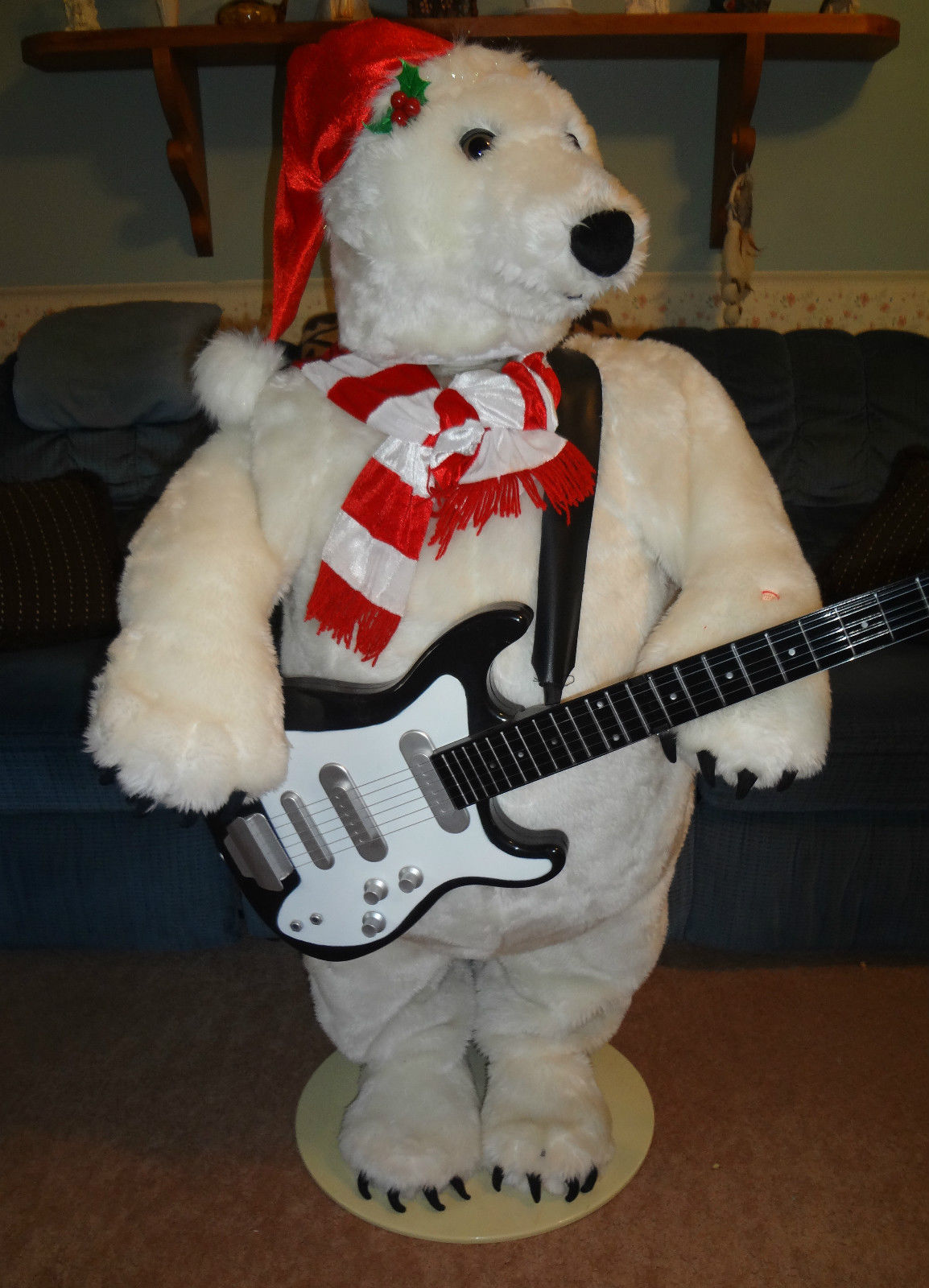 animated christmas decoration polar bear playing giutar animatronic - Bear Christmas Decorations