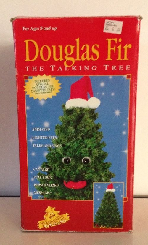 Vintage Gemmy Talking Singing Dancing Animated christmas tree Douglas Fir .JPG