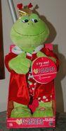 Animated flashing flirty flasher frog valentines day singing toy plush