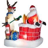 ANIMATED AIRBLOWN INFLATABLE SANTA ON FIRE