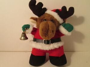 Santa Moose Stuffed Animal Animated and Plays ''Sleigh Ride'' Plush Gemmy