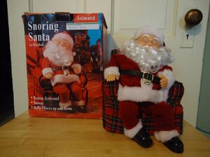 Gemmy animated snoring santa in armchair