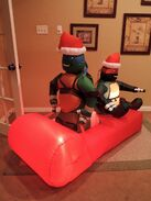 Gemmy inflatable ninja turtles on sled