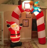 Gemmy Prototype Christmas Santa Elf Basketball Archway Inflatable Airblown