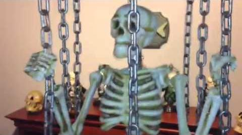 Gemmy industries shaking skeleton in cage prop