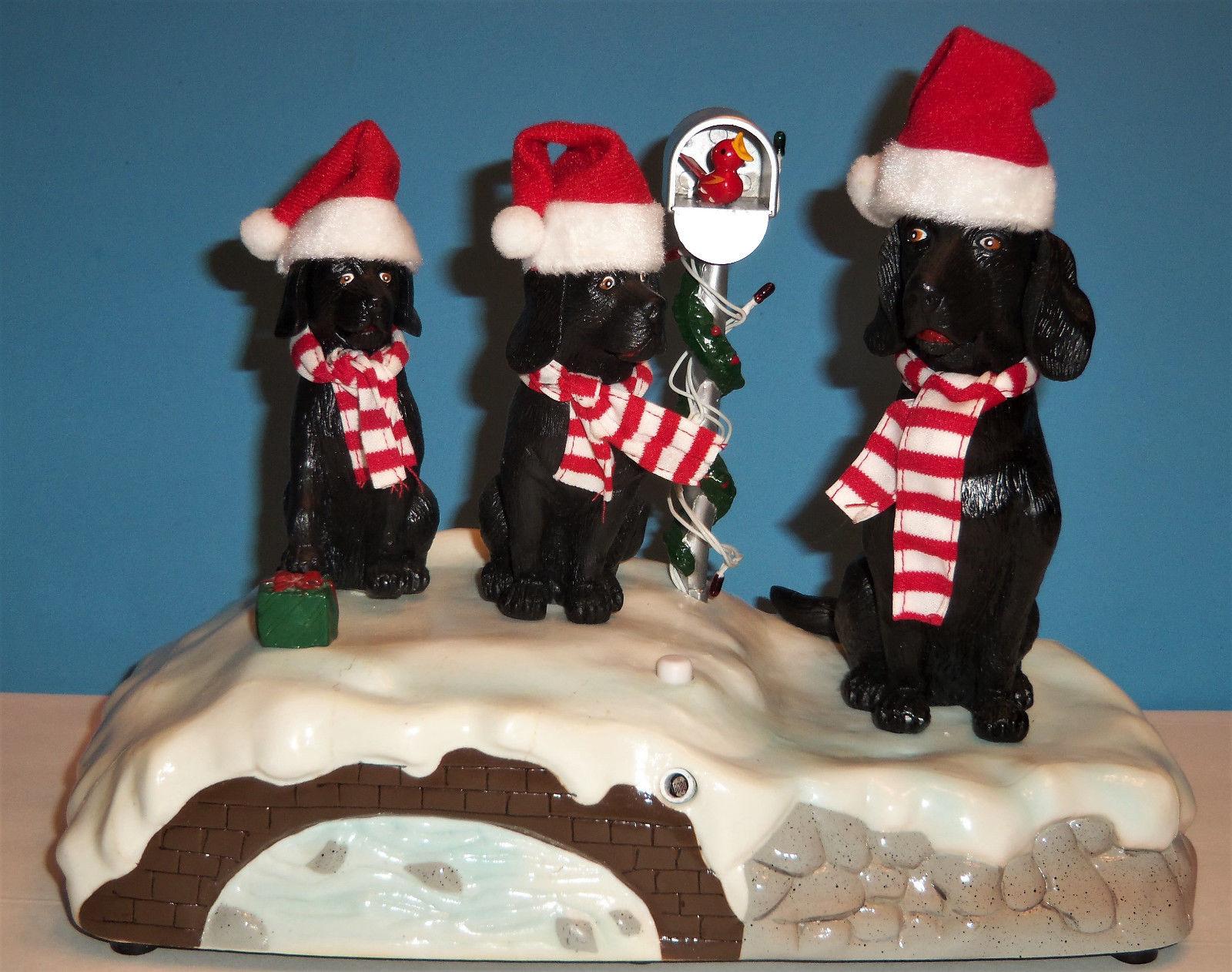 vintage gemmy singing caroling black lab dogs jingle bells christmas animatedjpg