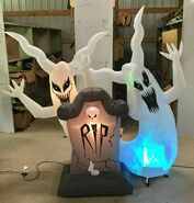Gemmy Prototype Halloween Inflatable Ghosts With Tombstone