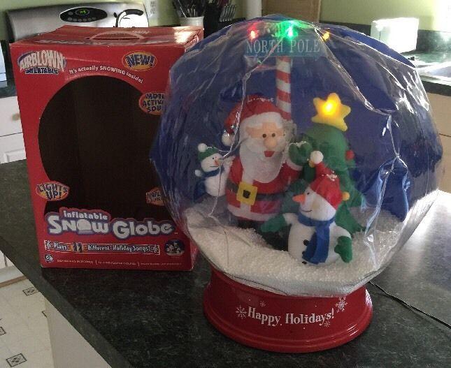 gemmy inflatable christmas musical light up snow globe santa snowman tree 2jpg - Christmas Musical Snow Globes
