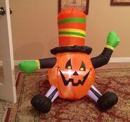 Gemmy Prototype Halloween Top Hat Pumpkin Inflatable Airblown