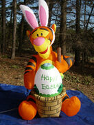 OVER 6' Lighted Tigger Easter Bunny Rabbit Painting Egg Airblown Inflatable