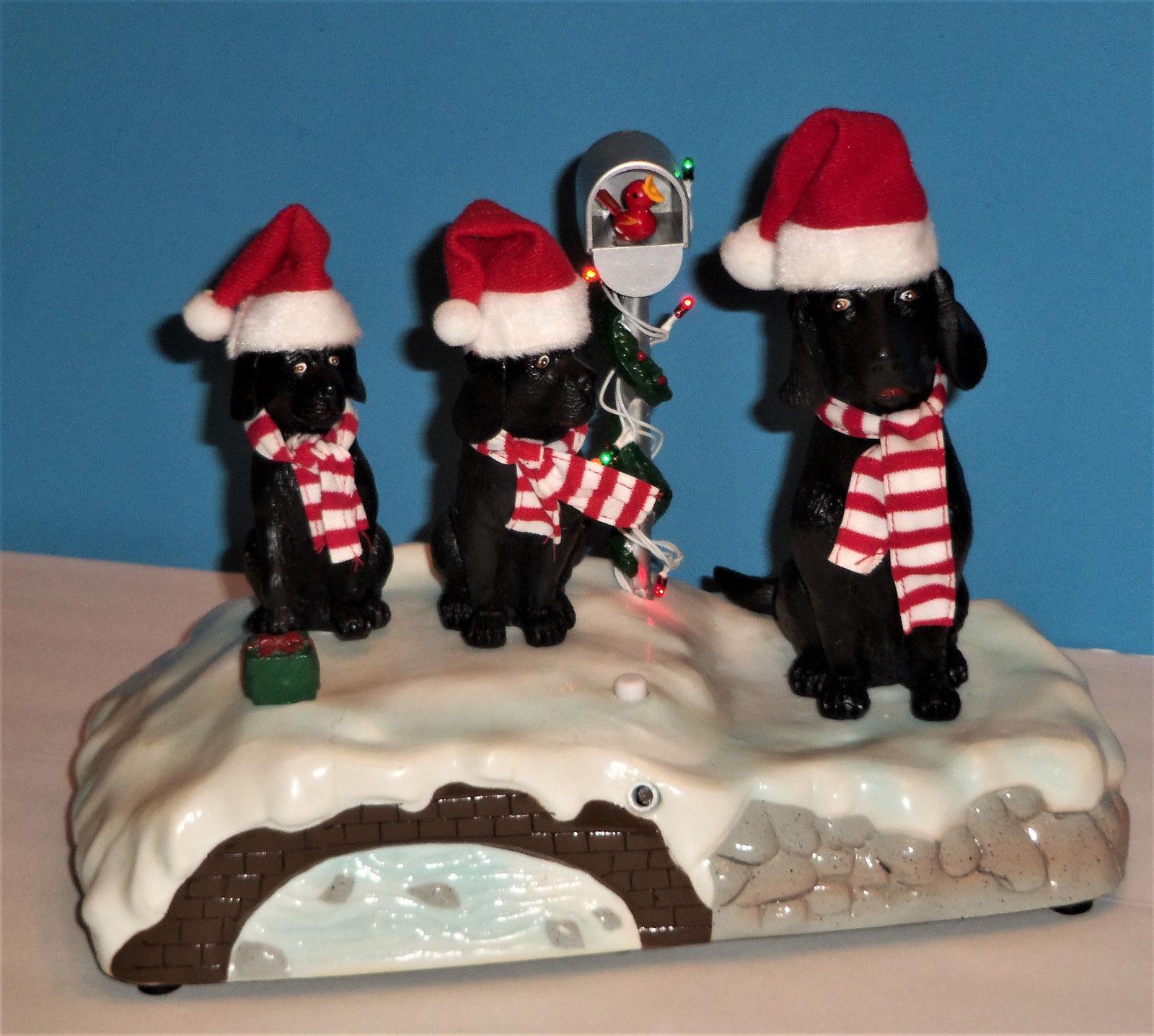 vintage gemmy singing caroling black lab dogs jingle bells christmas animated 3jpg