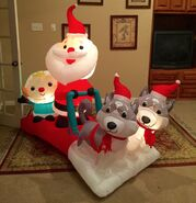 Gemmy Prototype Christmas Santa's Dog Sled Inflatable Airblown