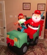 Gemmy Prototype Christmas Santa Golf Cart Inflatable Airblown