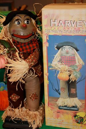Gemmy 1997 Harvey the harvest scarecrow talking singing animated prop