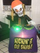 Gemmy Prototype Halloween Inflatable Kickin' It Old Skull