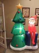 Gemmy inflatable elf on the shelf w christmas tree