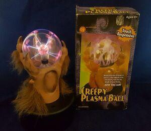 2001 GEMMY CREEPY PLASMA BALL hairy wolf hand Retired Halloween Prop in Box