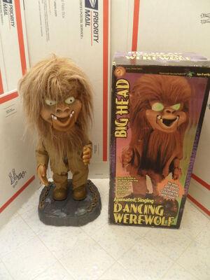 GEMMY Big Head Animated Dancing Singing Werewolf Halloween Figure RARE