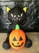 Gemmy Prototype Halloween Inflatable Cat with Pumpkin