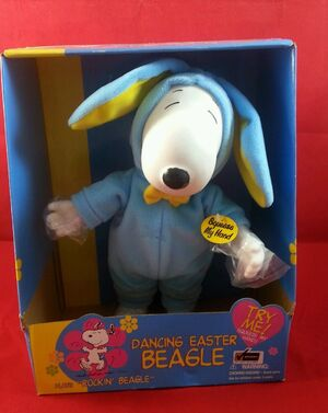 1998 Standing Dancing Easter Beagle Snoopy Gemmy 12'' Animated Toy