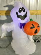 Gemmy Prototype Halloween Inflatable Ghost With Pumpkin