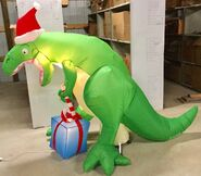 9ft Gemmy Airblown Inflatable Christmas T-Rex w Present Prototype