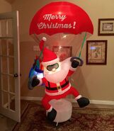 Gemmy Prototype Christmas Santa Parachute Inflatable Airblown