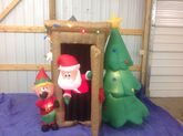 Gemmy animated inflatable santa in outhouse with elf