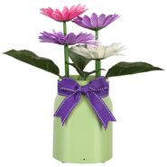 Animated Dancing Flowers - Frosted Green Glass