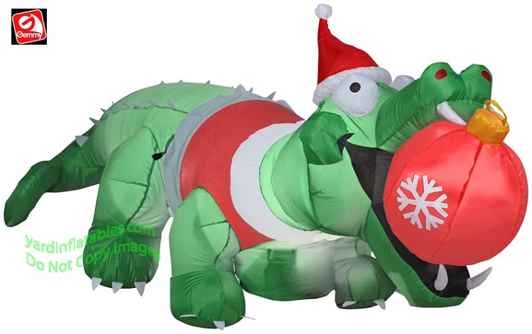 Gemmy 2014 Inflatable Alligator With Orniment In Mouth