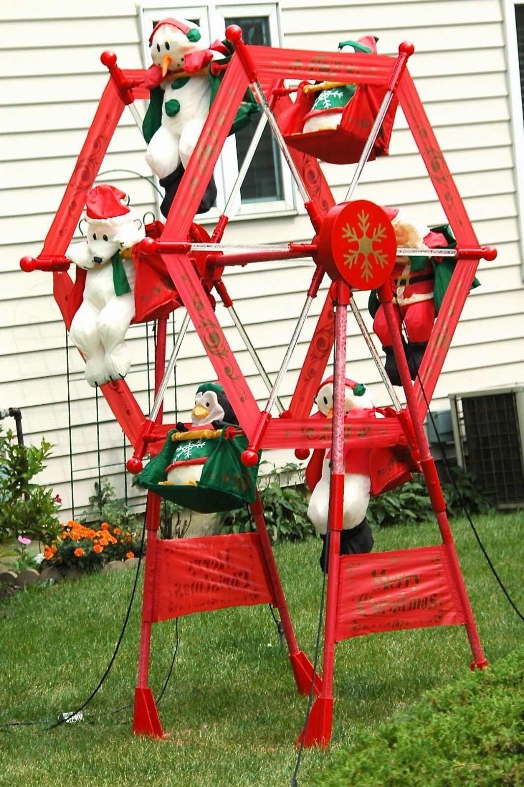 rare vintage gemmy 7 christmas inflatable ferris wheel motorized yard decor jpg