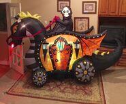 Gemmy Prototype Halloween Skeleton on Dragon Carridge Inflatable Airblown