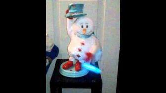 Mini spinning snowflake snowman