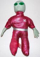 Gemmy Industries Talking Alien with Light Up Eyes Red Silver Suit Vintage WORKS!