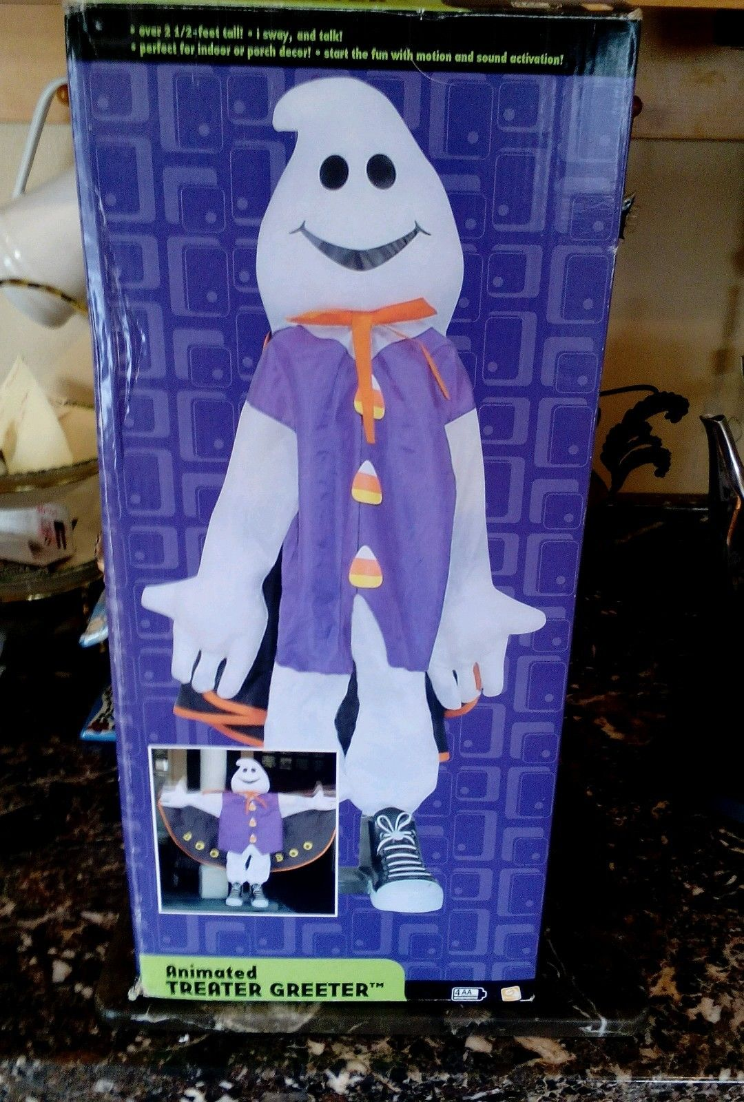 gemmy 2 feet plus ghost plush door greeter halloween animated talking nicejpg - Www Gemmy Com Halloween