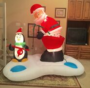Gemmy Prototype Christmas Santa and Penguin Fishing Inflatable Airblown