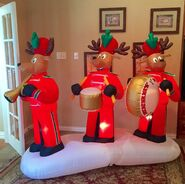 Gemmy Prototype Christmas Reindeer Marching Band Inflatable Airblown