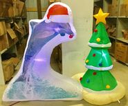 5ft Gemmy Airblown Inflatable Christmas Dolphin Scene Prototype