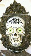 Gemmy Halloween Animated Skulll Door Knocker Decoration'' Halloween gets me on Hinged''